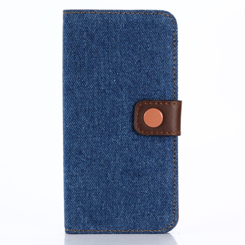 Image of   Apple iPhone X PU læder Premium Flipcover m. Jeanslook - Blå