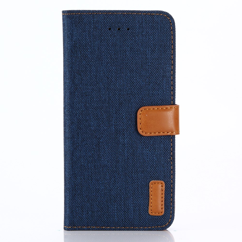 Image of   Apple iPhone X PU læder Flipcover m. Jeanslook - Mørk blå
