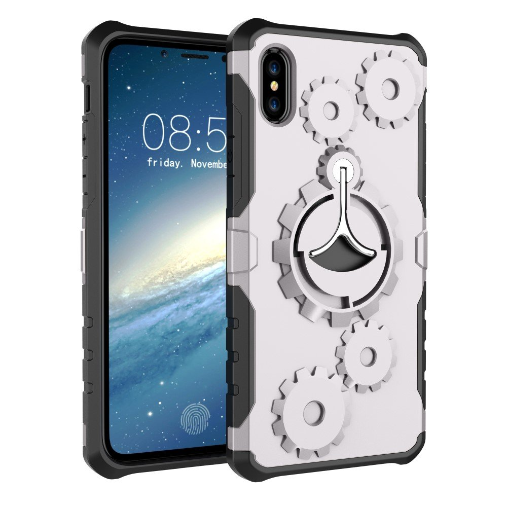 Image of   Apple iPhone X/XS 2 i 1 Hybrid Cover m. Sportsarmbånd - Sølv