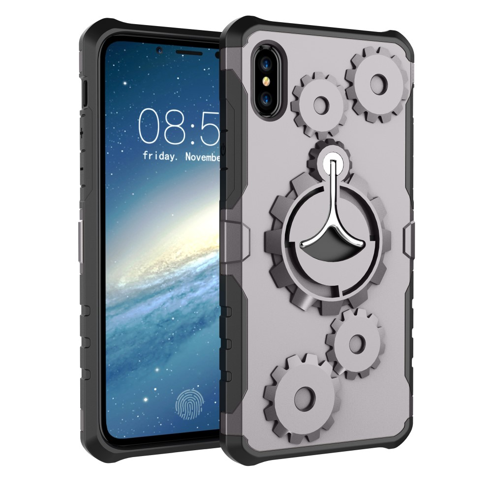 Image of   Apple iPhone X/XS 2 i 1 Hybrid Cover m. Sportsarmbånd - Grå