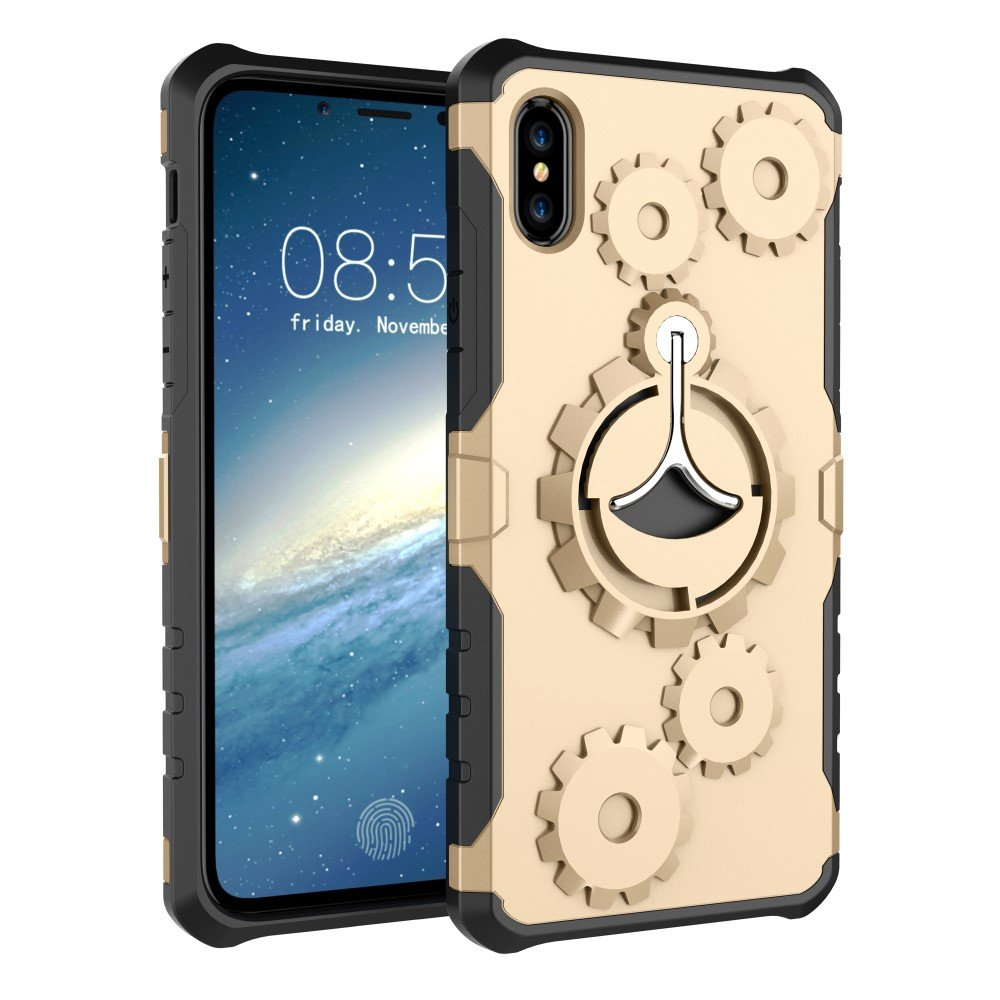 Image of   Apple iPhone X 2 i 1 Hybrid Cover m. Sportsarmbånd - Guld