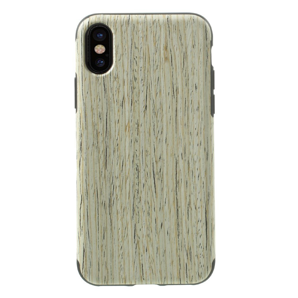 Image of   Apple iPhone X Læderbeklædt TPU Cover - Beige Træ