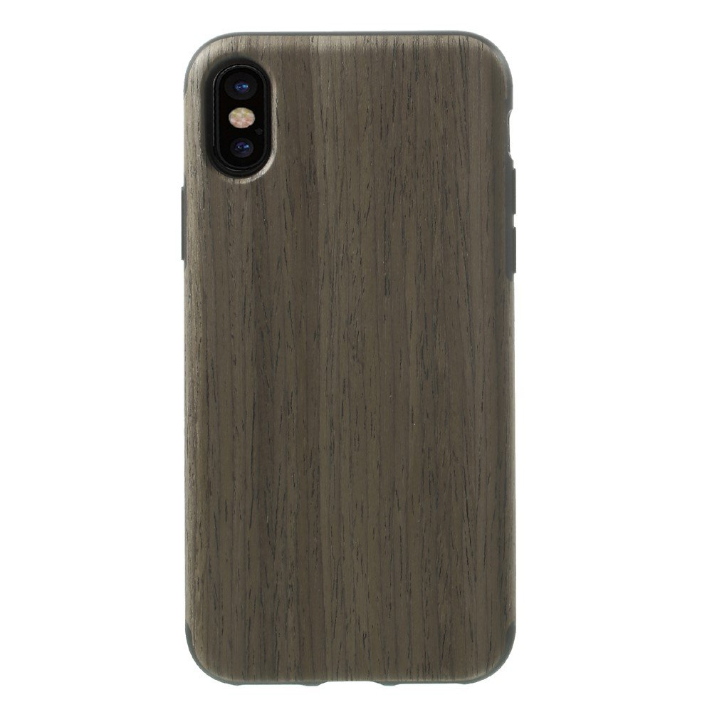 Image of   Apple iPhone X Læderbeklædt TPU Cover - Coffee Træ