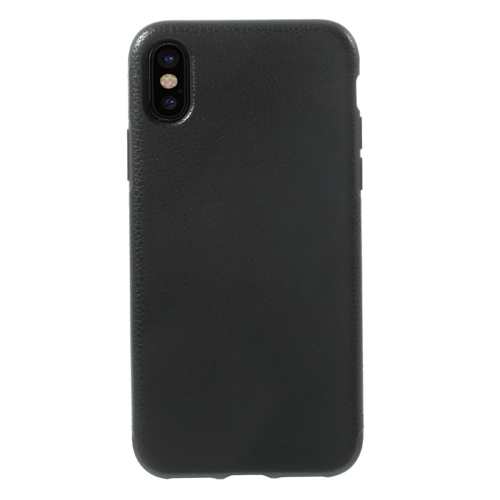 Image of   Apple iPhone X Læderbeklædt TPU Cover - Sort Litchi