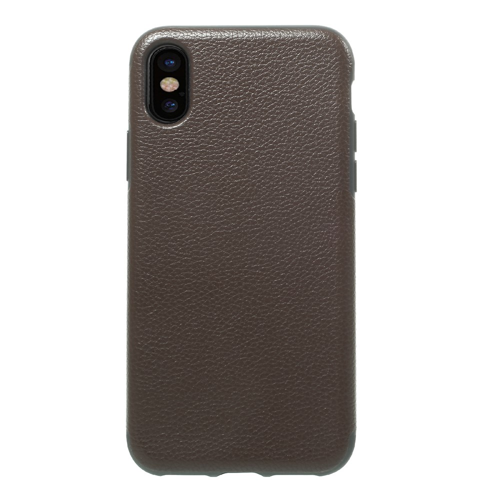 Image of   Apple iPhone X Læderbeklædt TPU Cover - Coffee Litchi