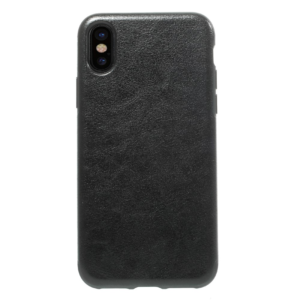 Image of   Apple iPhone X Læderbeklædt TPU Cover - Sort