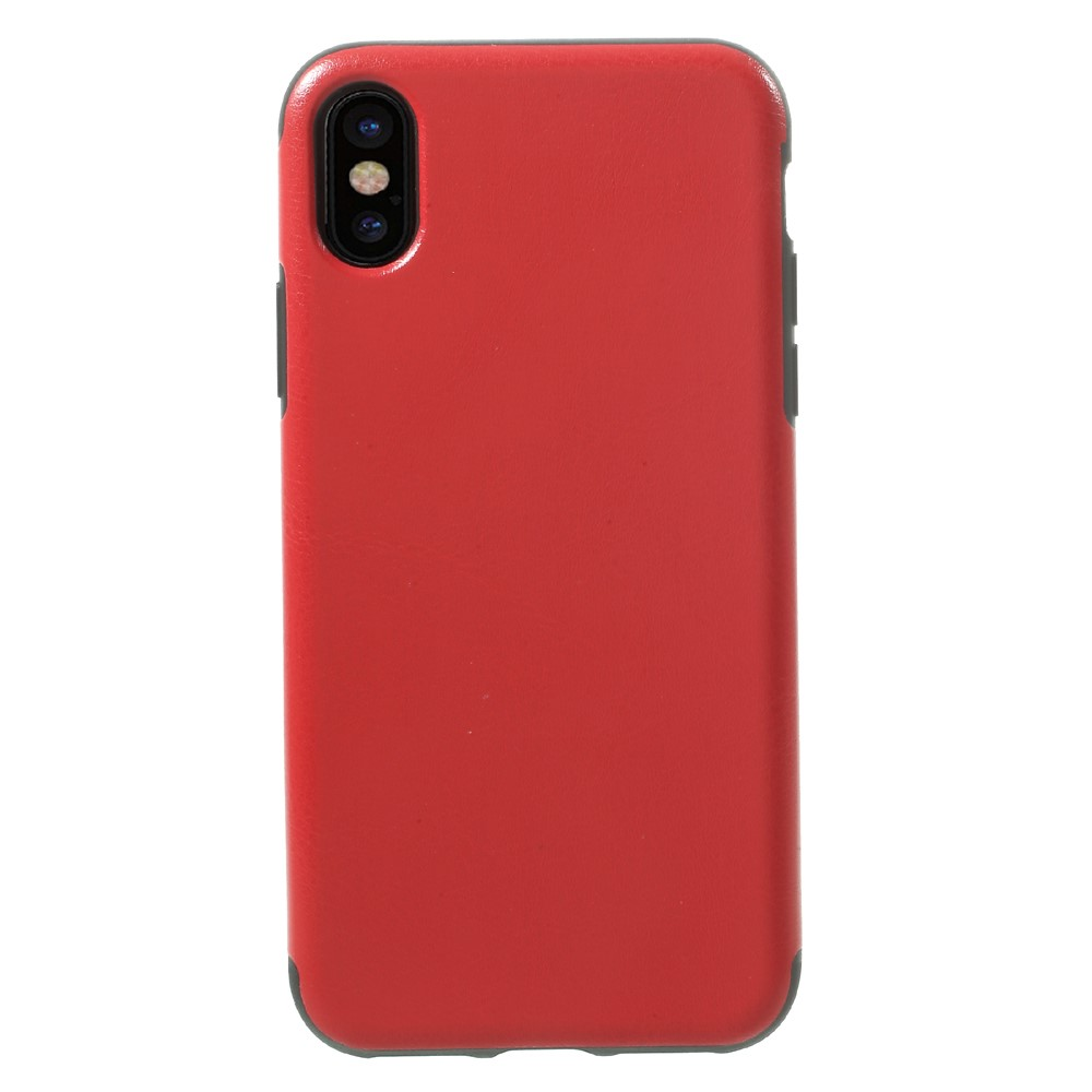 Image of   Apple iPhone X Læderbeklædt TPU Cover - Rød