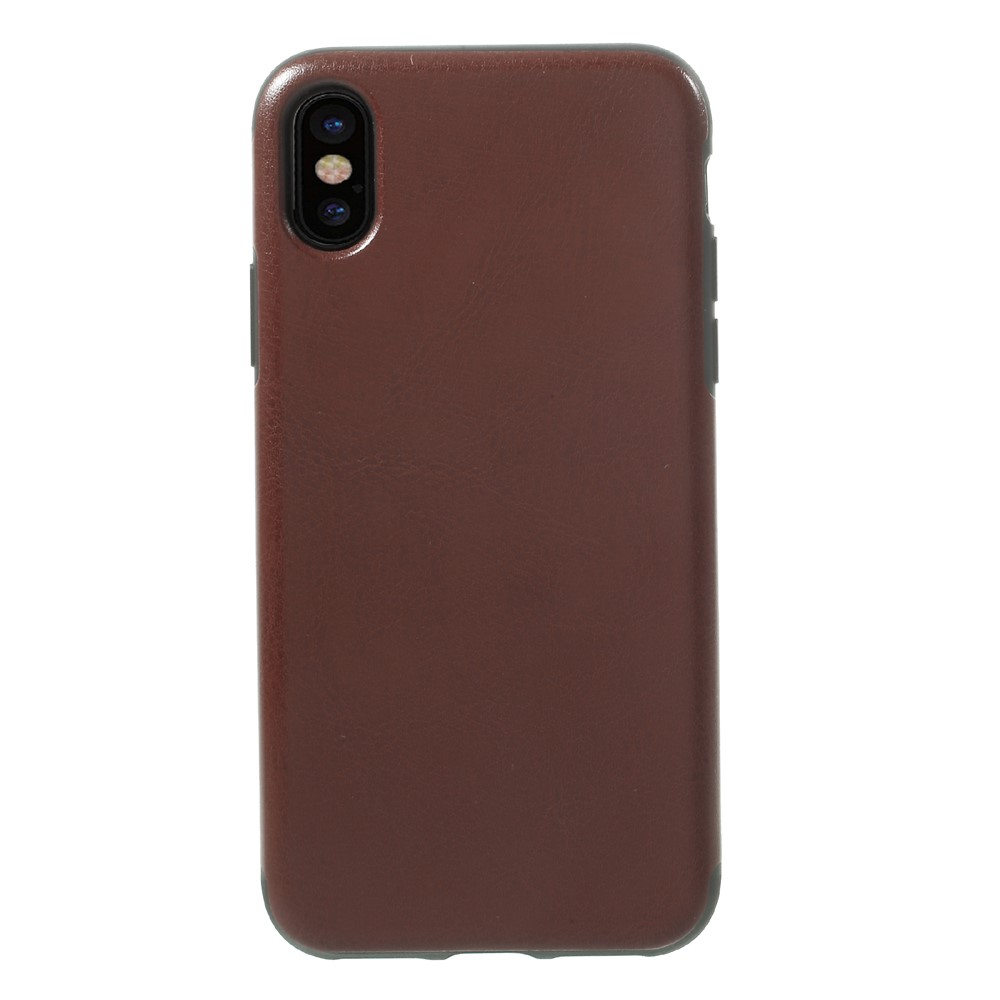 Image of   Apple iPhone X Læderbeklædt TPU Cover - Brun