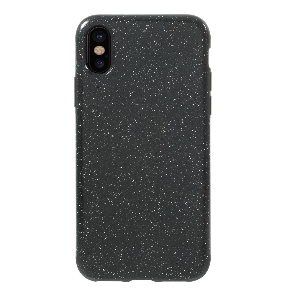 Image of   Apple iPhone X Læderbeklædt TPU Cover - Sort Glimmer