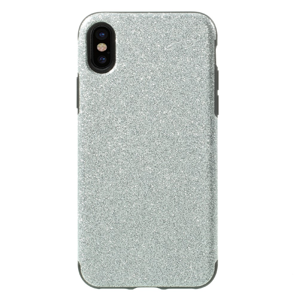 Image of   Apple iPhone X Læderbeklædt TPU Cover - Sølv Glimmer