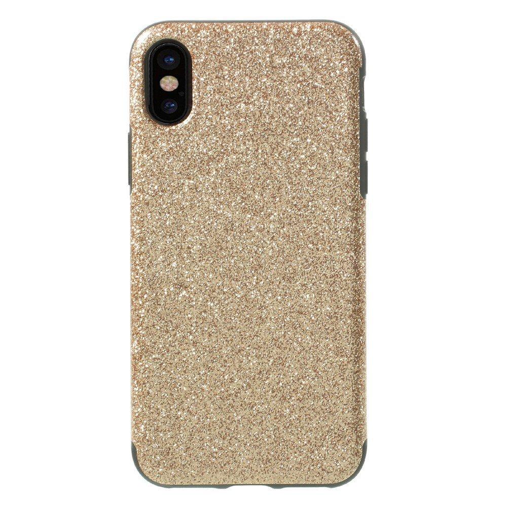 Image of   Apple iPhone X Læderbeklædt TPU Cover - Guld Glimmer