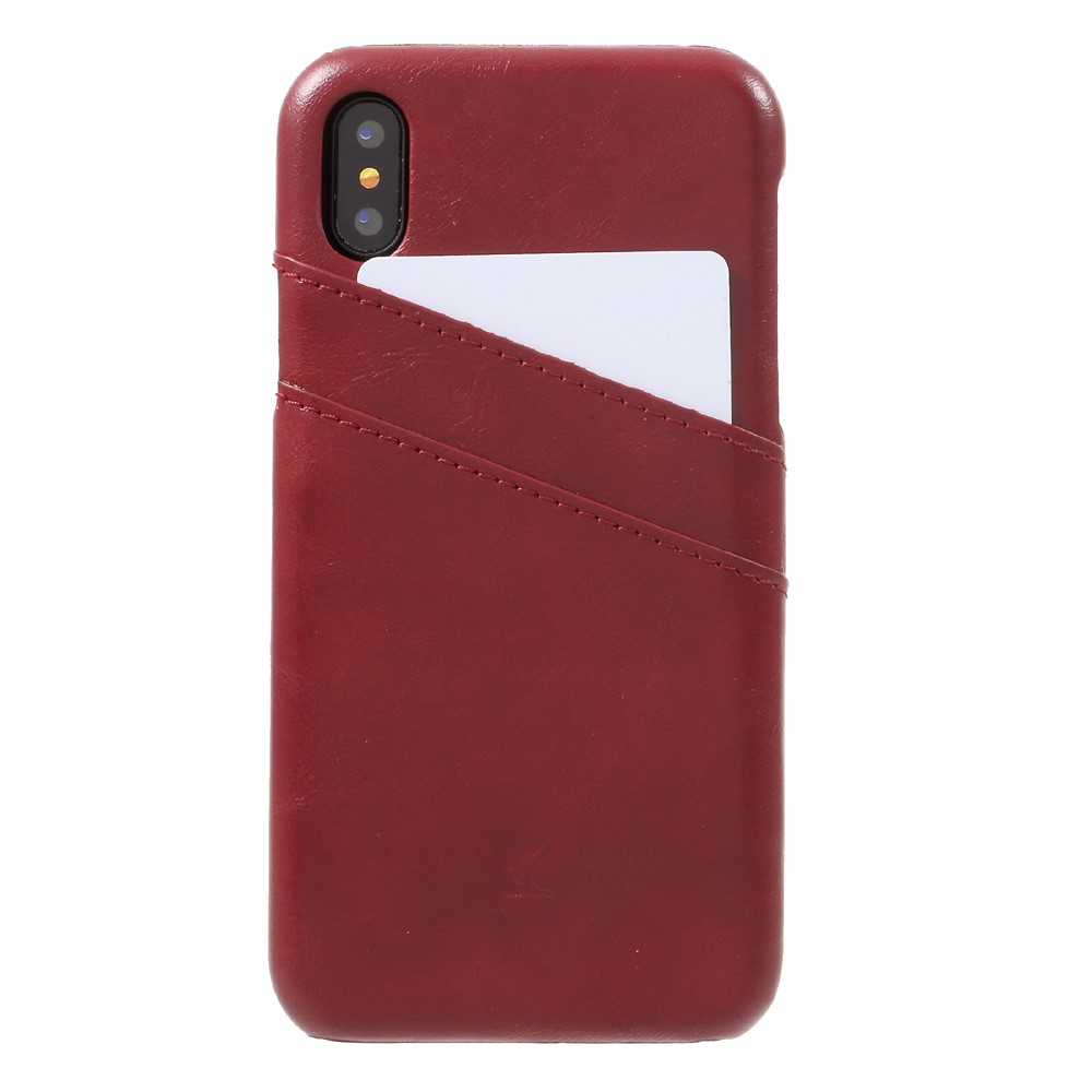 Image of   Apple iPhone X Plastik Cover m. PU læder og Kortholder - Rød