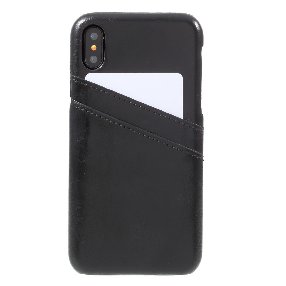 Image of   Apple iPhone X Plastik Cover m. PU læder og Kortholder - Sort