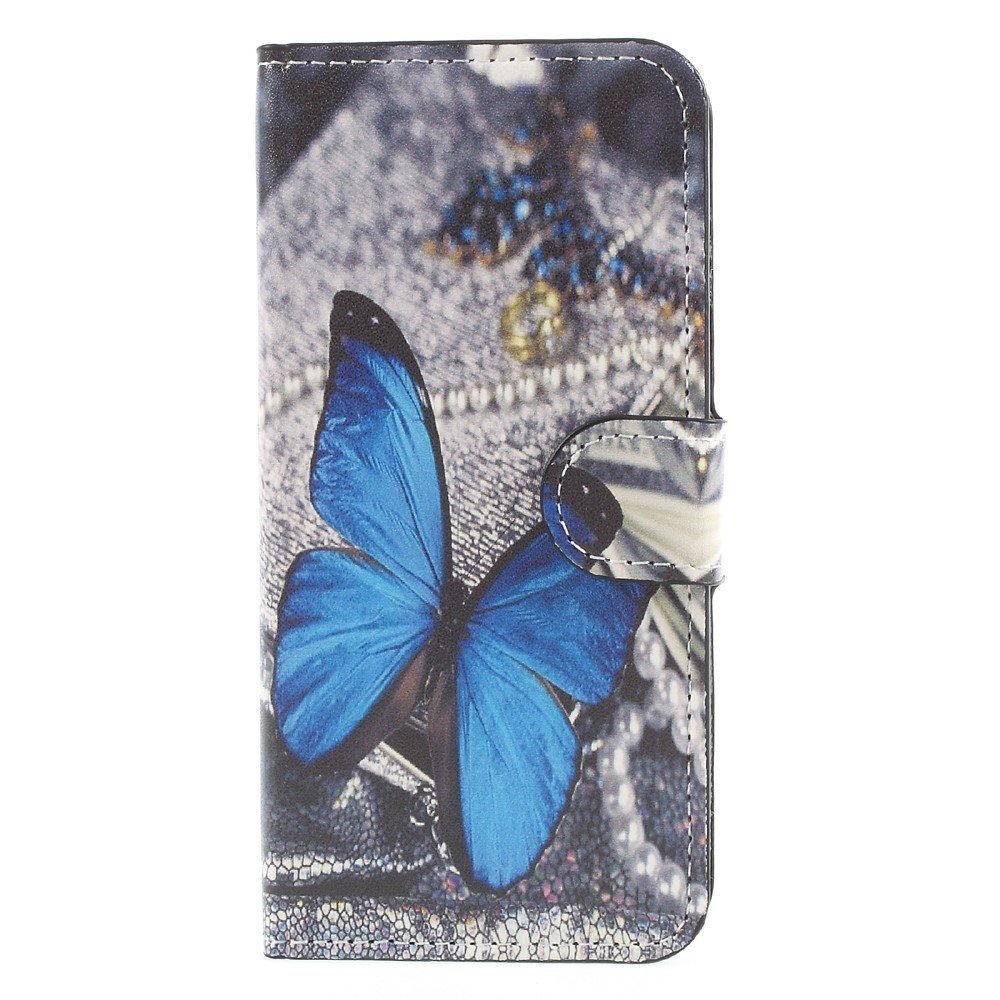 Apple iPhone 8 Design Flip Cover med Pung - Blue Butterfly