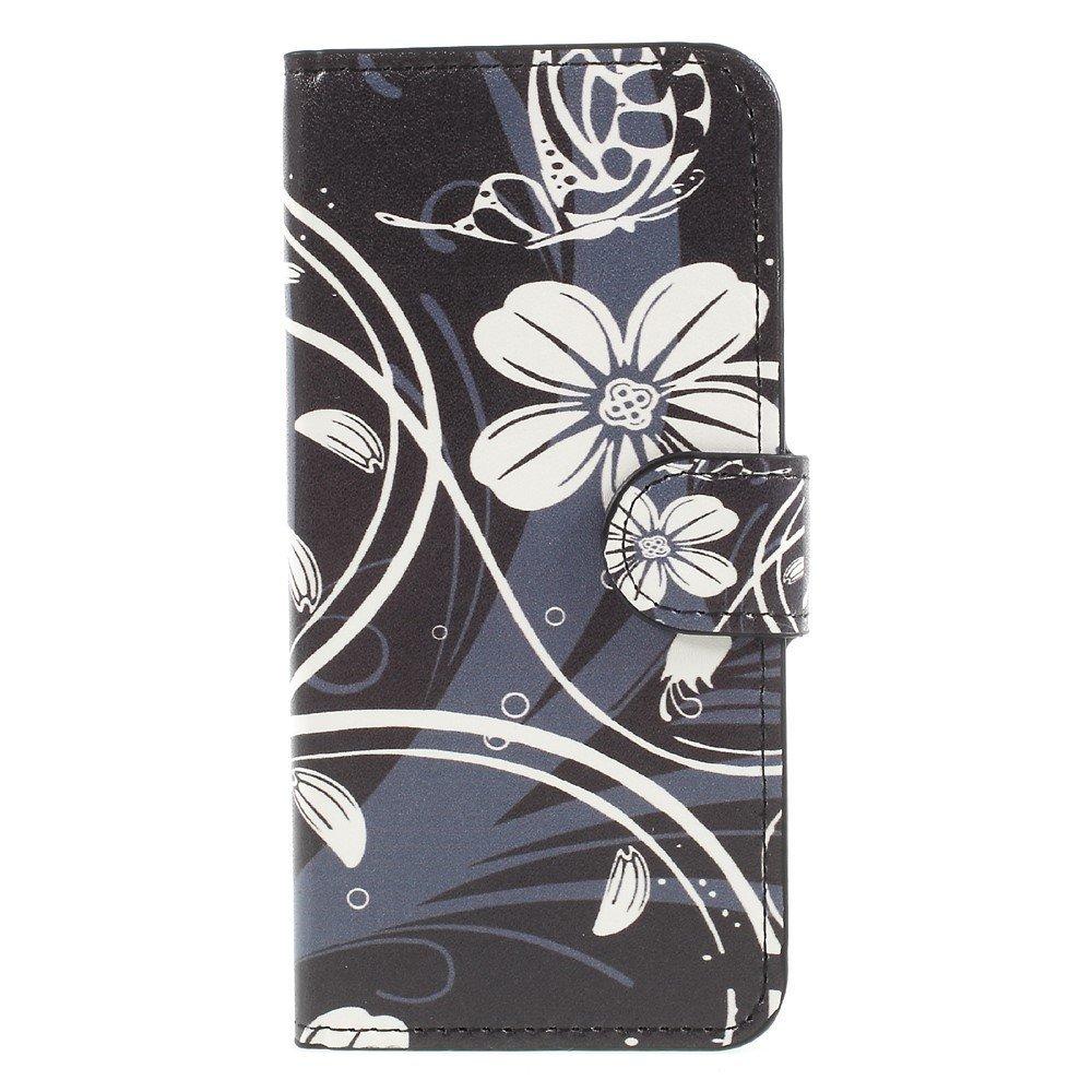 Apple iPhone 8 Design Flip Cover med Pung - White Flower