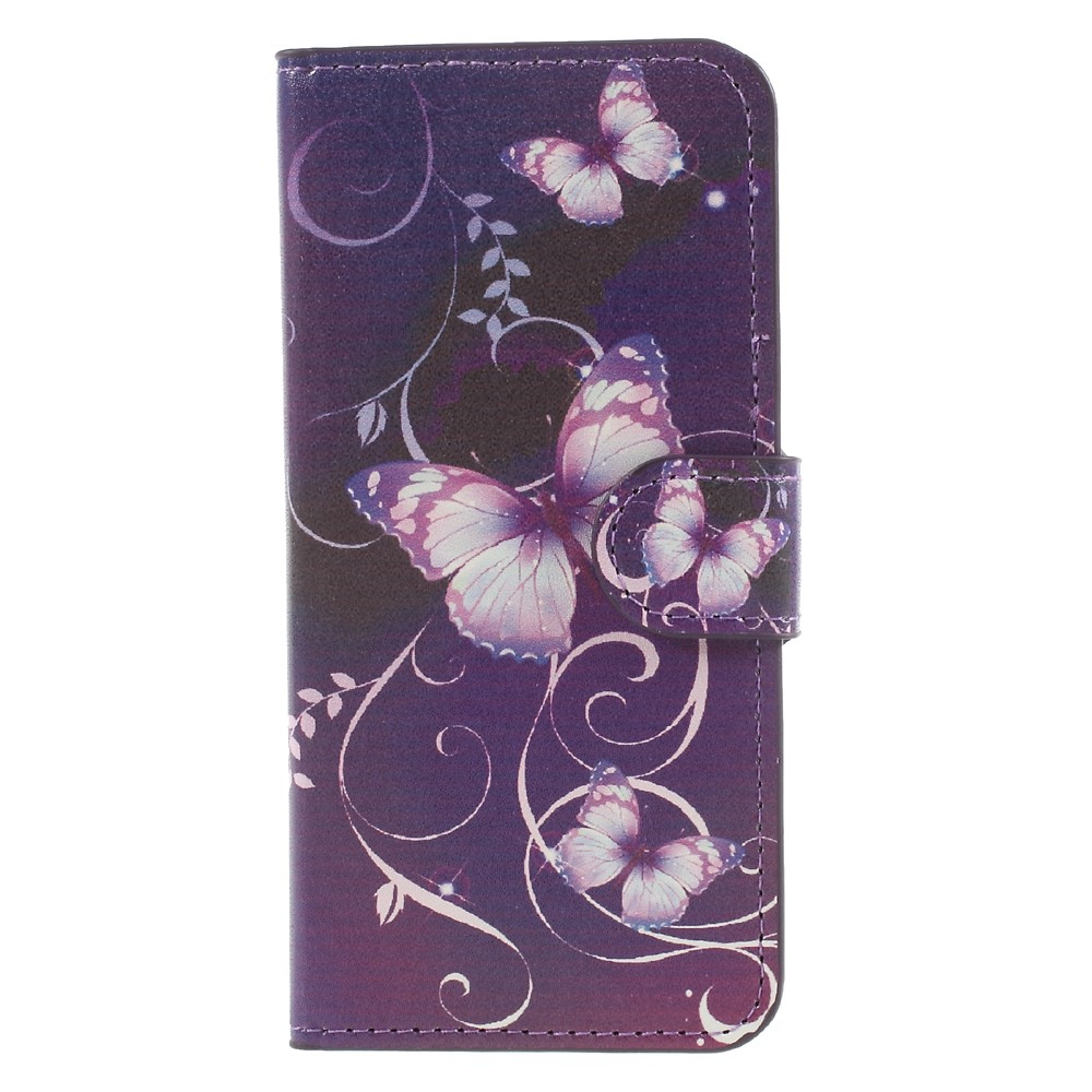Image of Apple iPhone 8 Design Flip Cover med Pung - Purple Butterfly