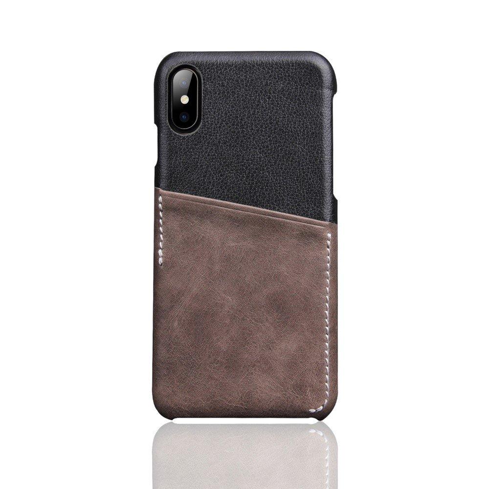 Image of   Apple iPhone X Deluxe Bagcover i Ægte Læder med Kortholder - Grå