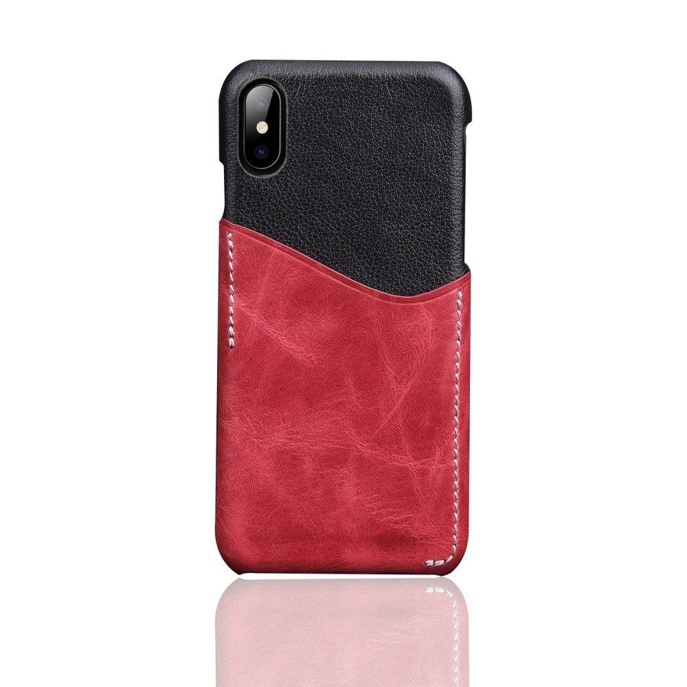 Image of   Apple iPhone X Deluxe Bagcover i Ægte Læder med Kortholder - Rød