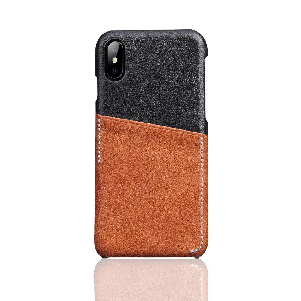 Image of   Apple iPhone X Deluxe Bagcover i Ægte Læder med Kortholder - Brun