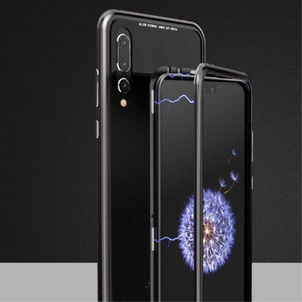 Image of   Huawei P20 Pro Magnetisk Metalramme m. Glas Bagside - Sort