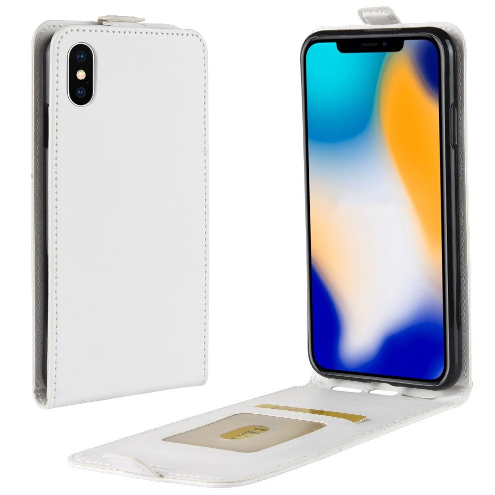 Image of   Apple iPhone Xs Max PU Læder Flip Cover m. Kortholder - Hvid