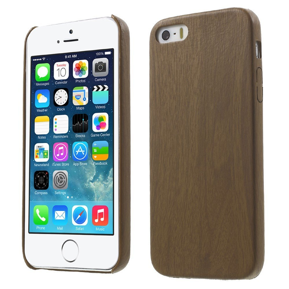 Image of   Apple iPhone 5/5s/SE PU Læder TræCover - Brun