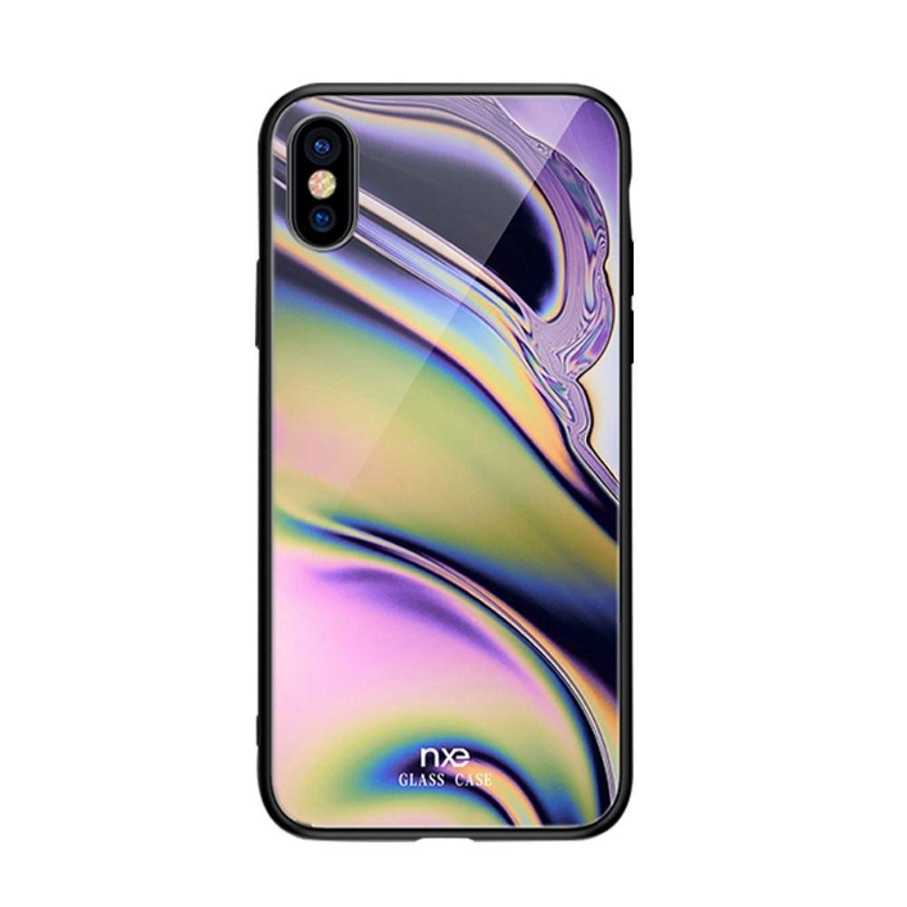 Image of   Apple iPhone X / XS Plastik Cover m. Lilla / Grøn Glas Bagside