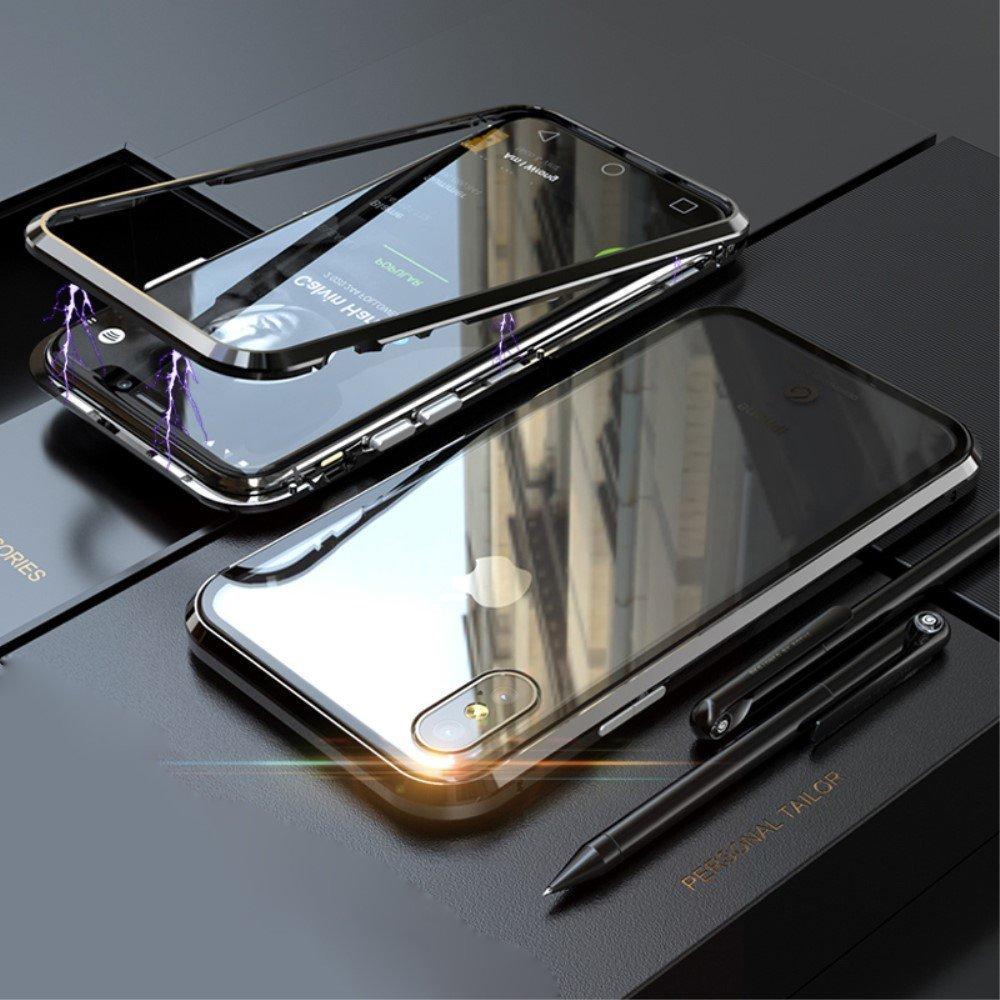 Image of   Apple iPhone XS Max Magnetisk Metalramme m. Glas Bagside - Sort