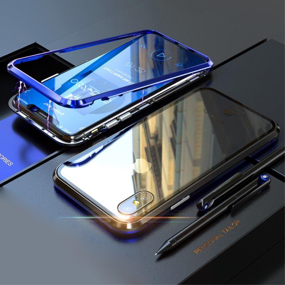 Image of   Apple iPhone XS Max Magnetisk Metalramme m. Glas Bagside - Blå