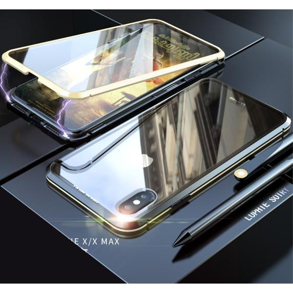Image of   iPhone X / XS Magnetisk Metalramme m. Glassider - Sort / Guld