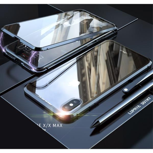 Image of   iPhone X / XS Magnetisk Metalramme m. Glassider - Sort