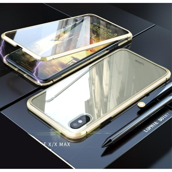 Image of   iPhone X / XS Magnetisk Metalramme m. Glassider - Guld
