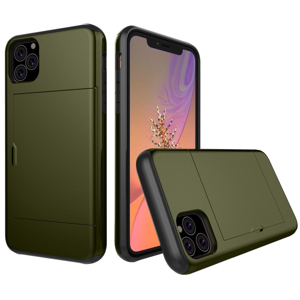 Image of   Apple iPhone 11 Pro Hårdt Plastik Cover m. Kortholder - Mørkegrøn