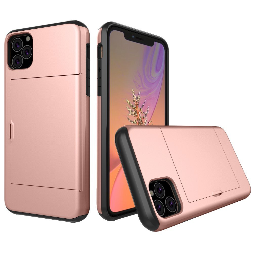Image of   Apple iPhone 11 Hårdt Plastik Cover m. Kortholder - Rose Gold