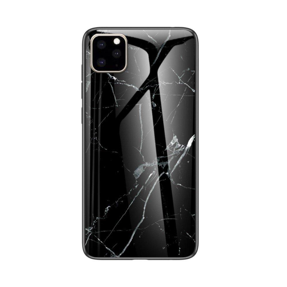 Image of   iPhone 11 Marmor Plastik Cover m. Glas Bagside - Sort