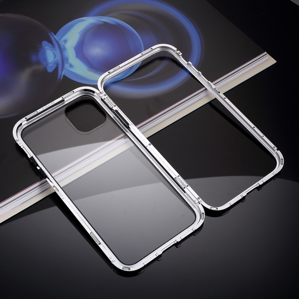Image of   iPhone 11 Magnetisk Metalramme m. Glas Bagside - Sølv