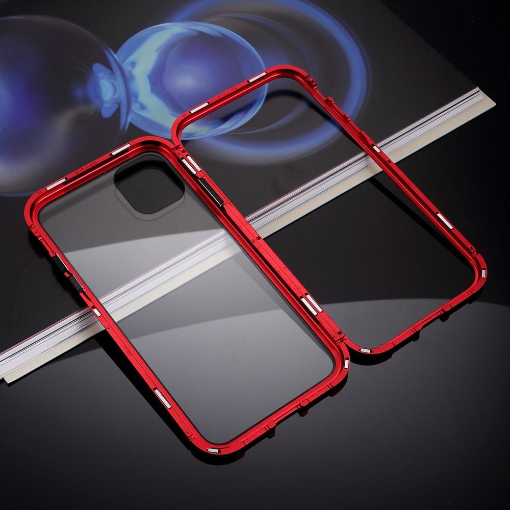 Image of   iPhone 11 Pro Max Magnetisk Metalramme m. Glas Bagside - Rød