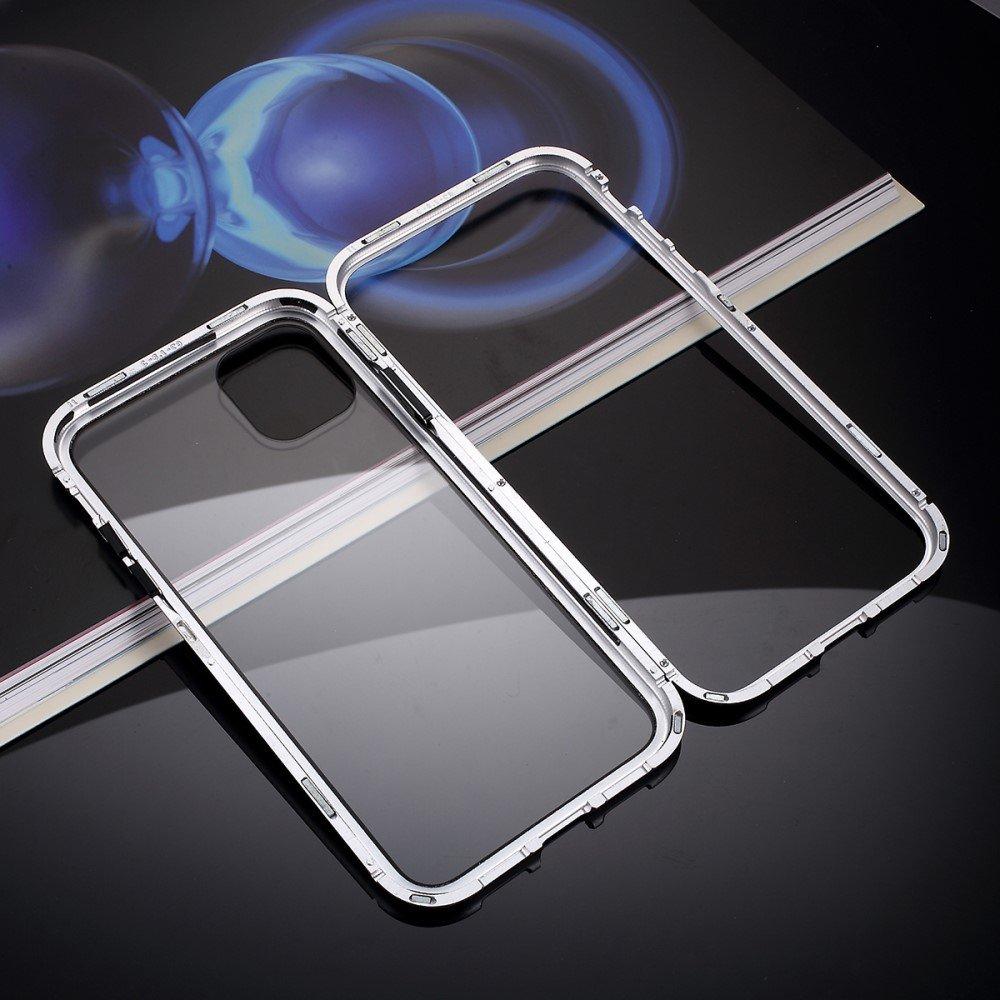 Image of   iPhone 11 Pro Max Magnetisk Metalramme m. Glas Bagside - Sølv
