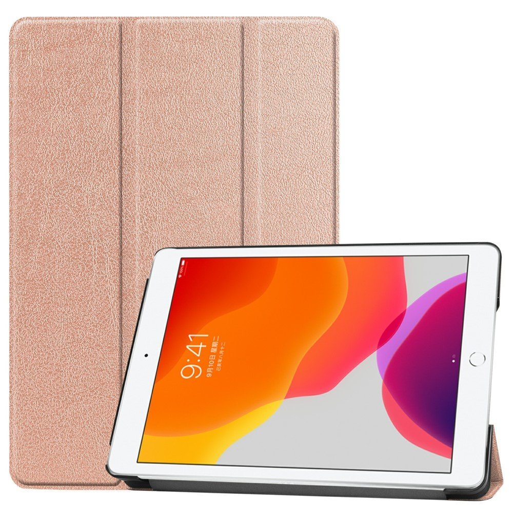 "Image of   Apple iPad 10.2"" (2019) Læder Flip Cover m. Stand - Rose Gold"