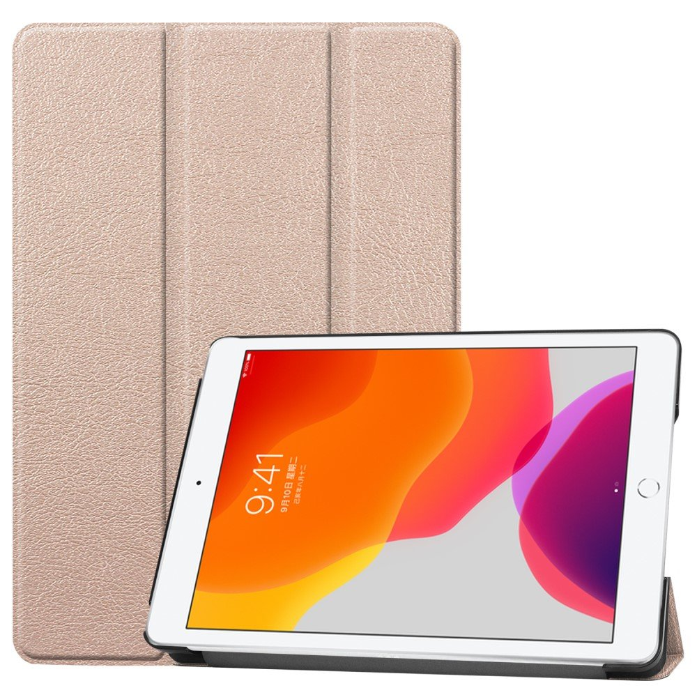 "Image of   Apple iPad 10.2"" (2019) Læder Flip Cover m. Stand - Guld"