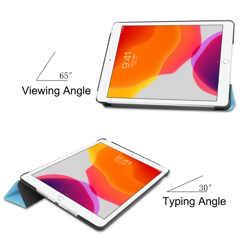 "Image of   Apple iPad 10.2"" (2019) Læder Flip Cover m. Stand - Lyseblå"