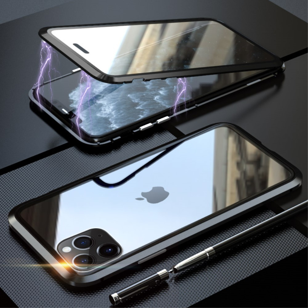 Image of   iPhone 11 Pro Magnetisk Metalramme m. Glas For- og Bagside - Sort