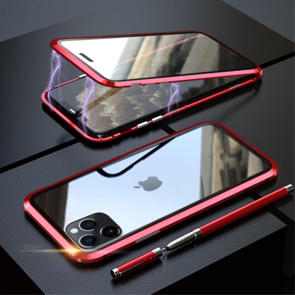 Image of   iPhone 11 Pro Magnetisk Metalramme m. Glas For- og Bagside - Sort / Rød