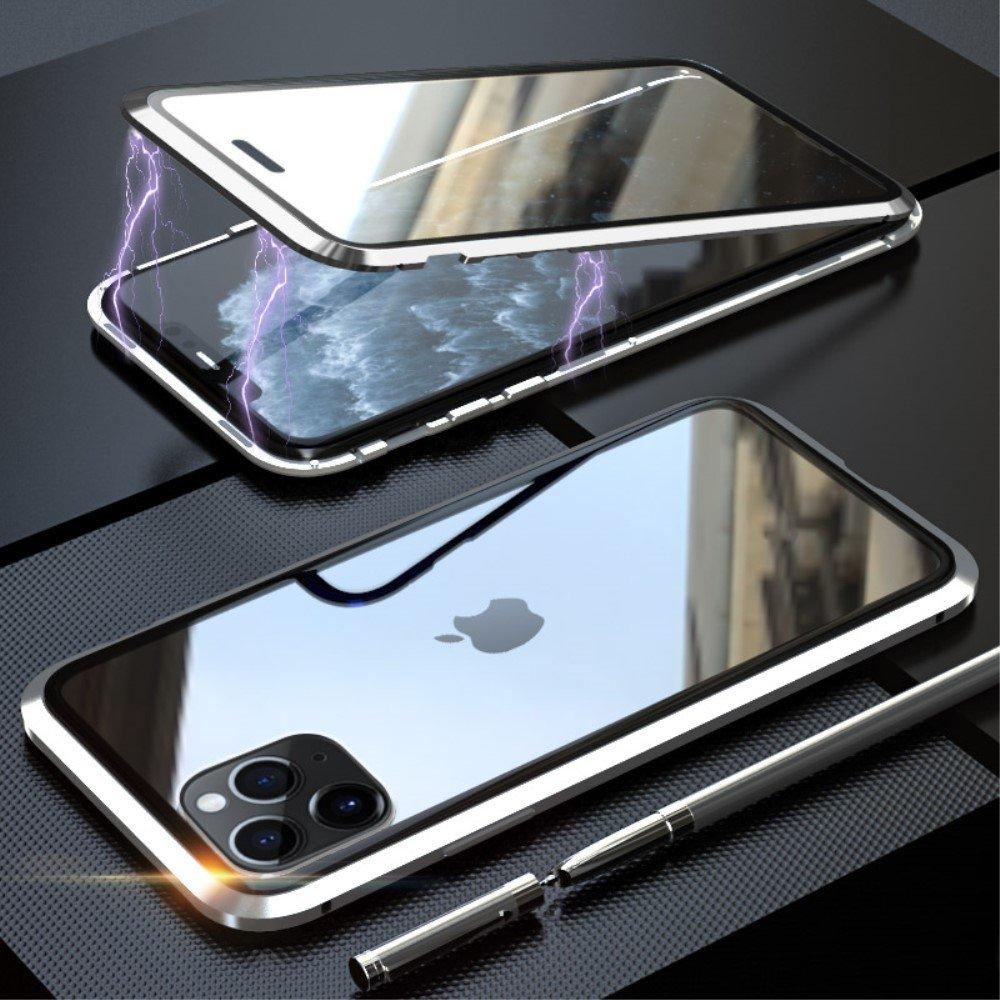Image of   iPhone 11 Pro Magnetisk Metalramme m. Glas For- og Bagside - Sort / Sølv