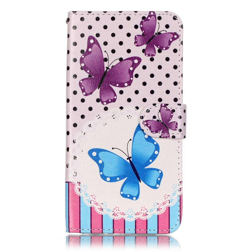 Billede af Apple iPhone 7/8 Plus PU læder FlipCover m. Kortholder - Butterflies and dots