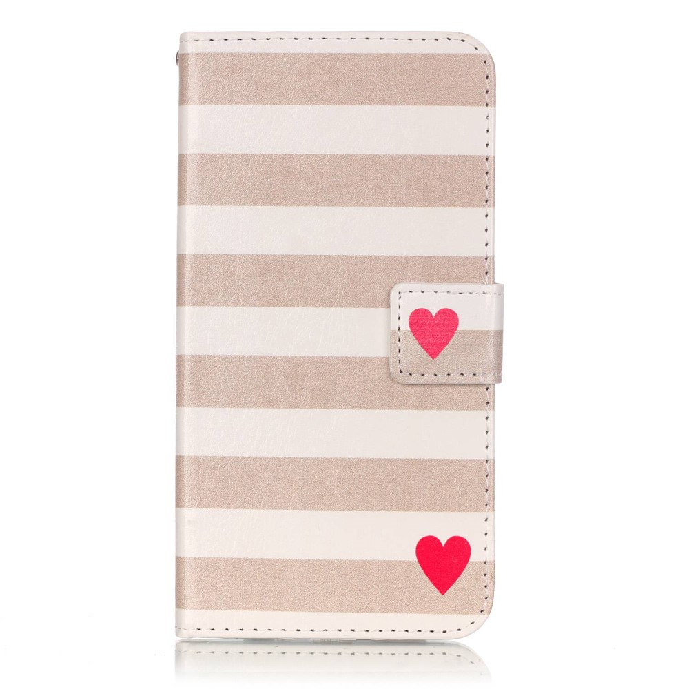Billede af Apple iPhone 7/8 Plus PU læder FlipCover m. Kortholder - Hearts and Stripes