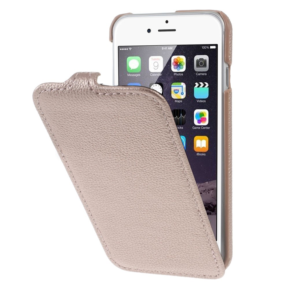 Image of   Apple iPhone 7 Plus PU læder Vertikal FlipCover - Rosa/guld