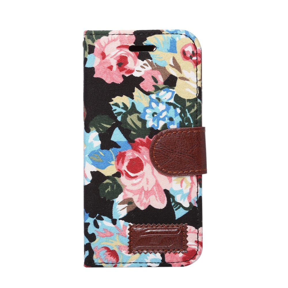 Image of   Apple iPhone 7/8 Blomstret FlipCover m. Stand - Sort