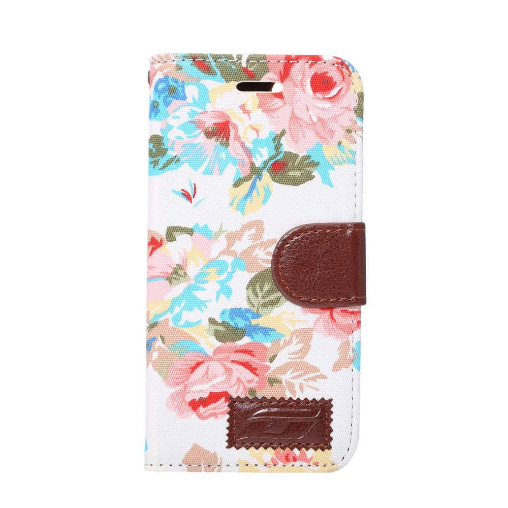 Image of   Apple iPhone 7/8 Blomstret FlipCover m. Stand - Hvid