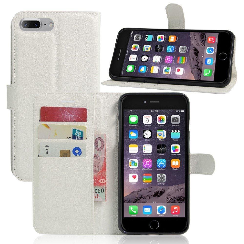 Image of   Apple iPhone 7/8 Plus PU læder FlipCover m. Pung - Hvid